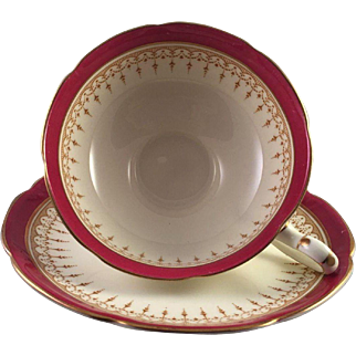 Royal Doulton Duke Of York Maroon Cup and Saucer