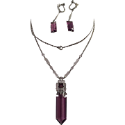 Art Deco Amethyst Glass, Crystal Necklace and Earrings