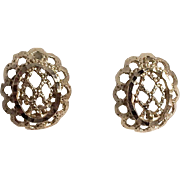 14K Yellow Gold Filigree Pierced Earrings