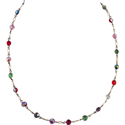 Vintage Gold Filled Aurora Borealis Crystal Beaded Necklace