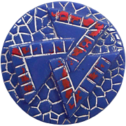 Vintage 1920's Czech Glass Blue Red Button