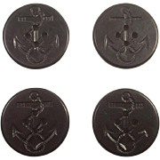 Four US Navy Black Bakelite Peacoat Buttons