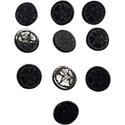 Set Of Ten Victorian Floral Black Glass Buttons