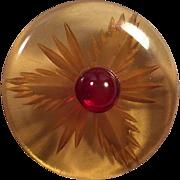 Vintage Apple Juice Bakelite Reverse Carved Button