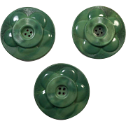Three Vintage Large Green Celluloid Coat Buttons