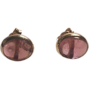 18K Yellow Gold Pink Tourmaline Cabochon Pierced Earrings Italy