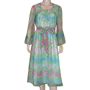 Vintage 1960's 70's Marek New York Long Sleeved Floral Print Dress