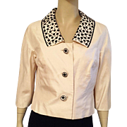 1960's Doreen Loh Ivory Silk Shantung Jacket With Black Beading
