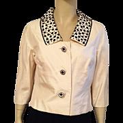 1960's Doreen Loh Ivory Silk Shantung Jacket With Black Beading