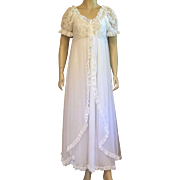 1960's Tosca Of California White Nylon Bridal Peignoir Set Size S
