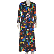 Vintage 1970's Colorful Polyester Jersey Maxi Dress With Jacket