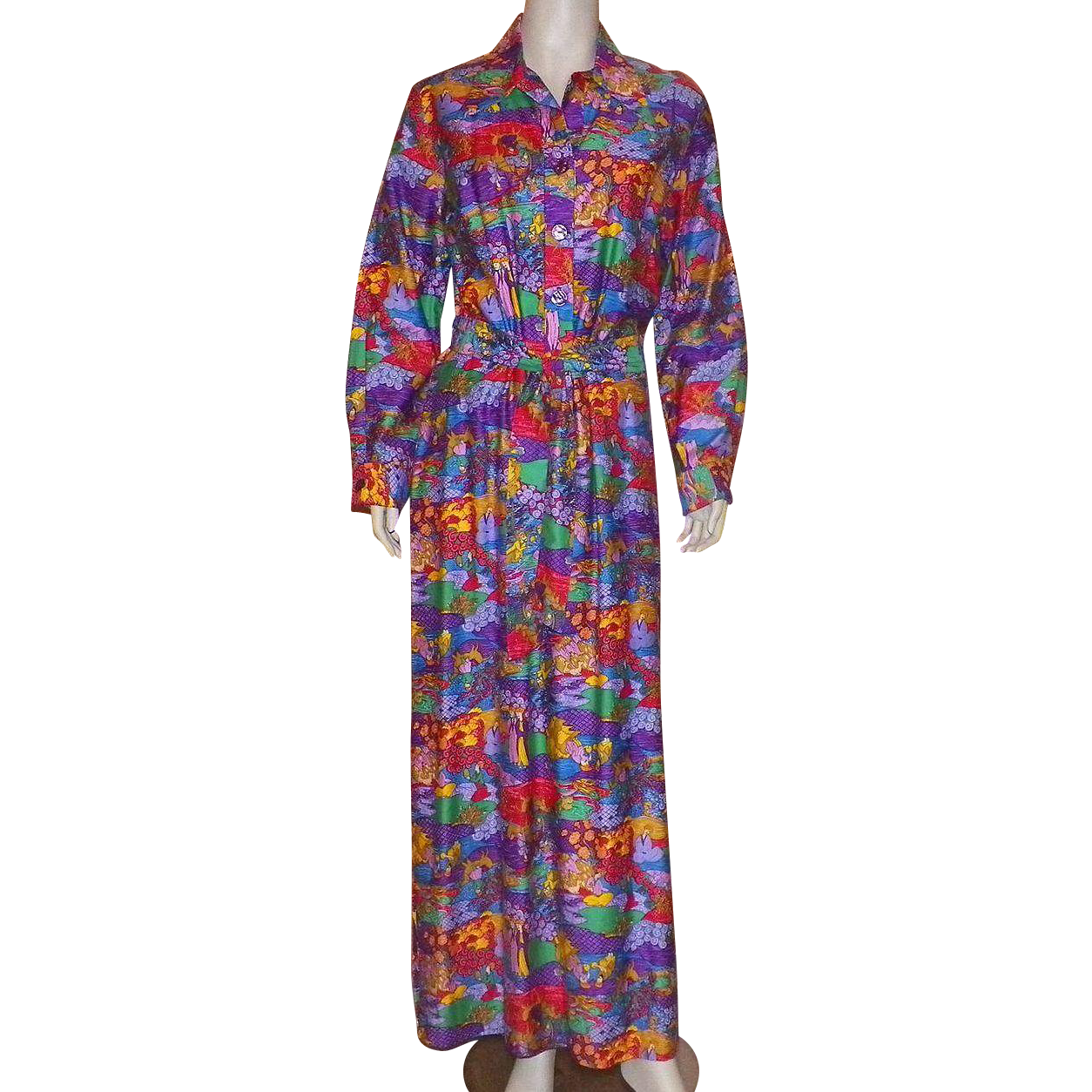 Vintage 1970's Serbin Of Florida Maxi Dress Asian Motif