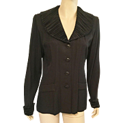 1940's Style Black Rayon Crepe Jacket With Satin Collar