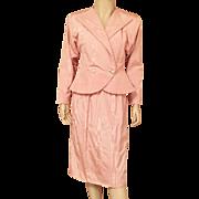 1980's Morton Myles Peach Satin Moire Evening Suit