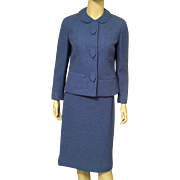1960's Tailorbrooke Blue Wool Suit Skirt and Jacket