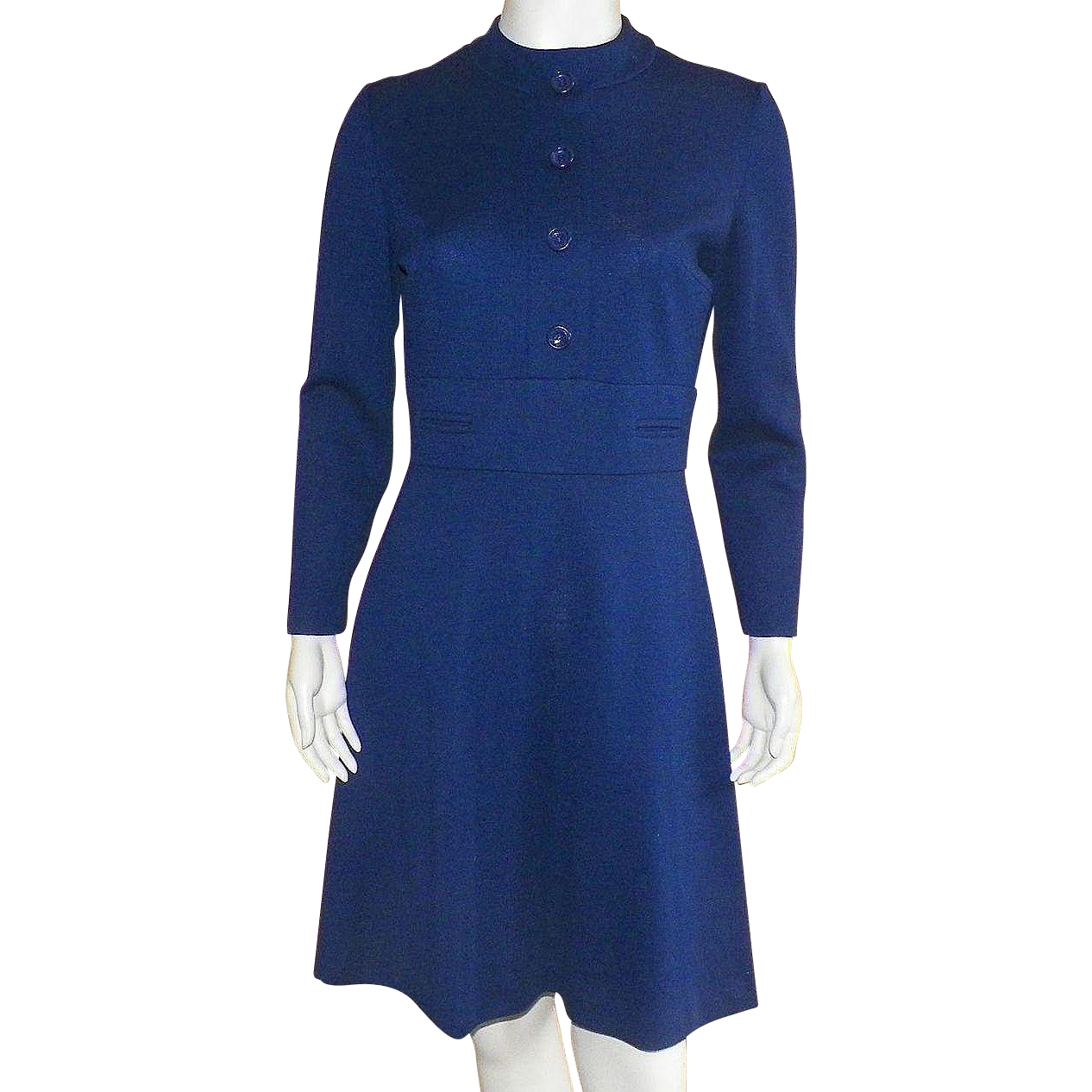 Vintage 1970's Kay Windsor Navy Wool Knit Dress