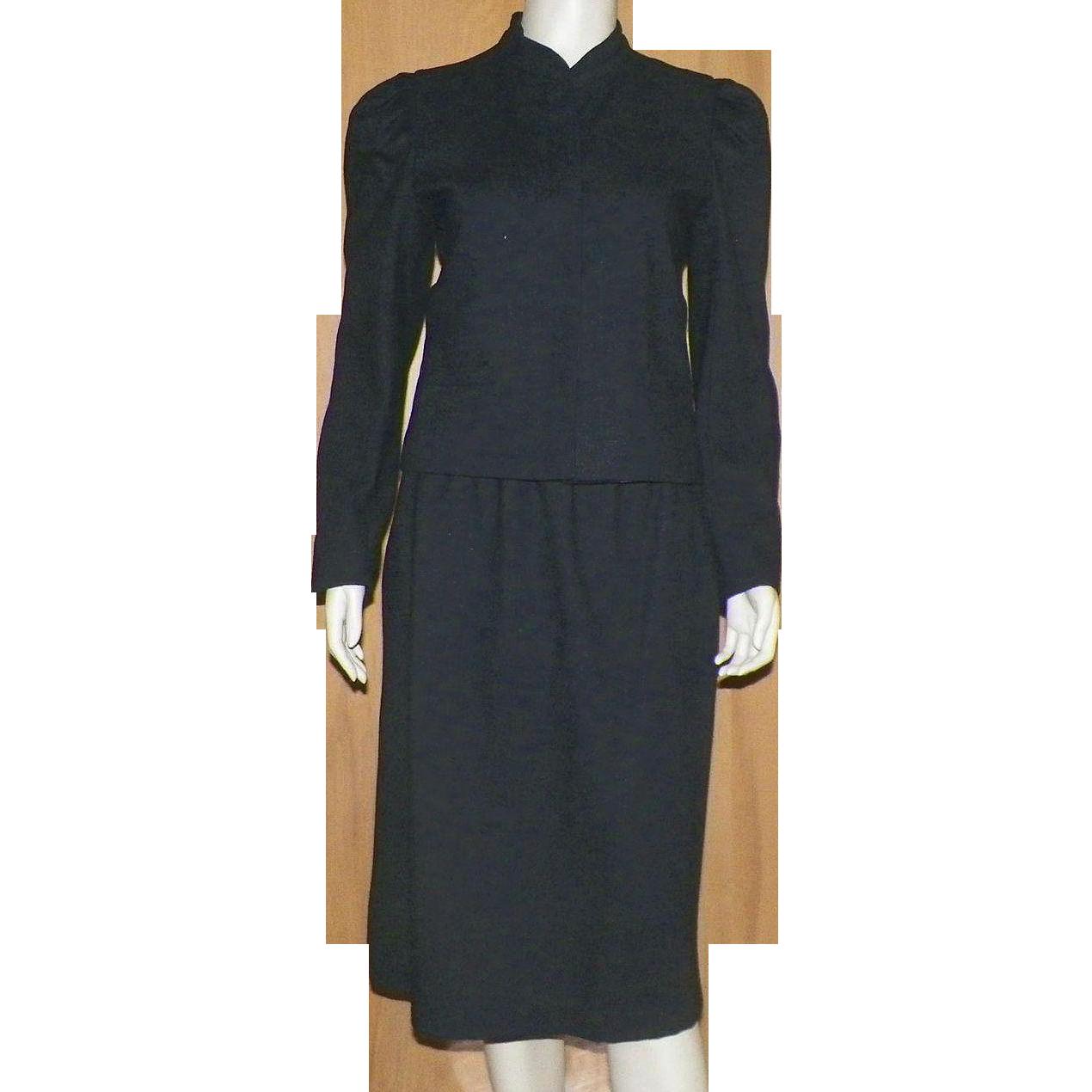 Vintage 1970's 80's Dark Gray Wool Skirt Jacket Suit