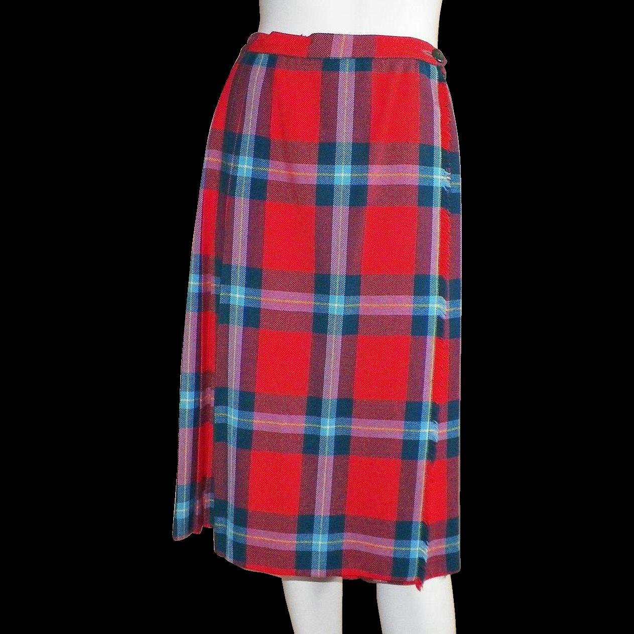 Vintage 1950's British Pleated Plaid Skirt