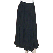 Vintage 1980's Mondi Black Tiered Prairie Skirt With Huge Sweep