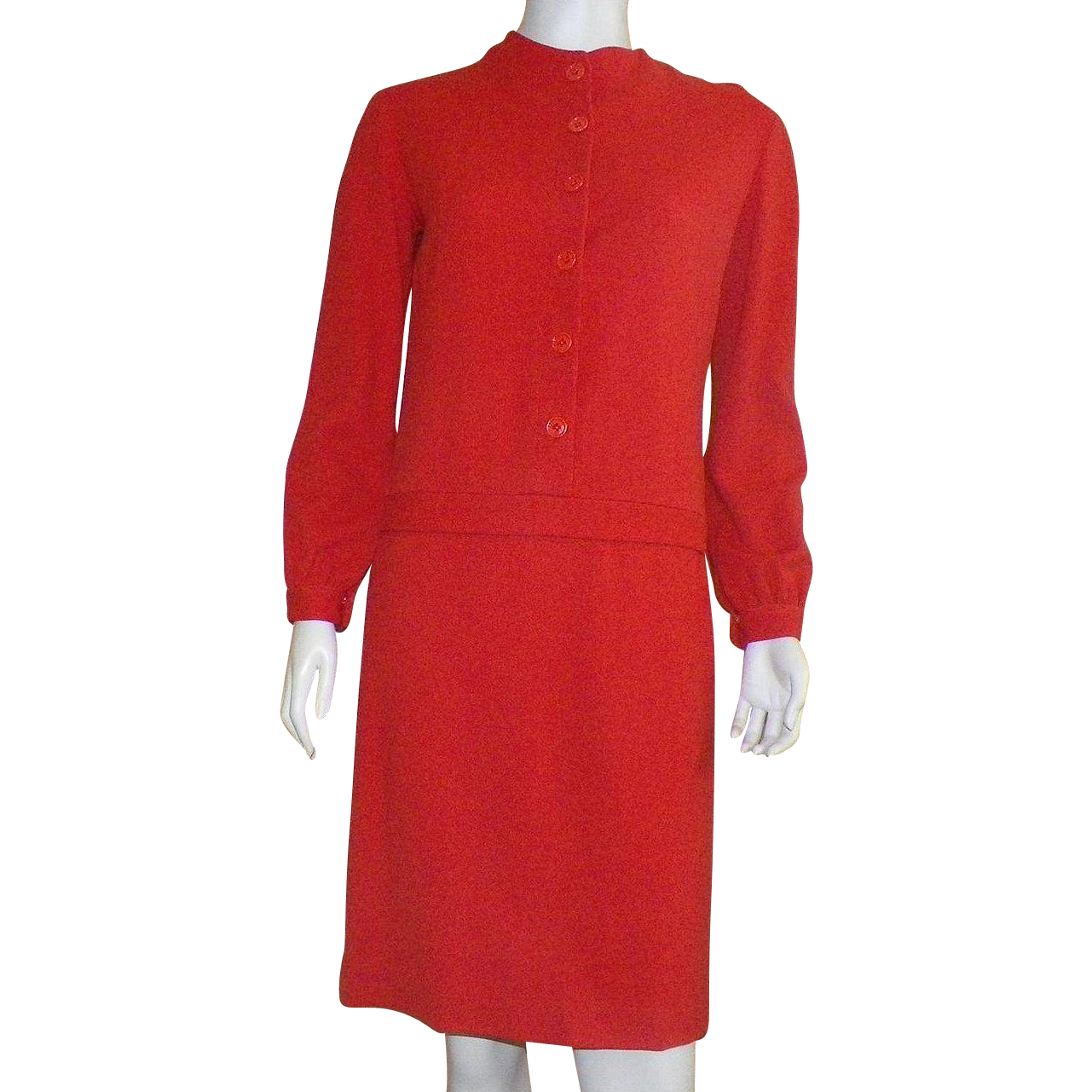 Vintage 1960's Junior Sophisticates Red Wool Drop Waist Long Sleeve Dress