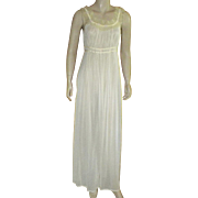 Vintage 1950's Yellow Nylon Nightgown Designed By Arlene Dahl For A.N. Saab and Co.