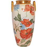 Art Nouveau Hand Painted Poppies Vase Signed By Artist
