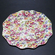 Vintage James Kent Du Barry Chintz Ruffled Dish / Bowl