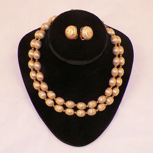 Vintage Crown Trifari Brushed Gold Tone Beaded Necklace & Earrings