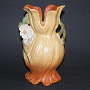 Vintage Weller Art Pottery Vase Orange With White Flowers