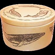 Vintage 1970's Artist Signed Whale Scrimshaw Trinket Box