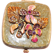 Jay Strongwater Enamel and Rhinestone Floral Mirror Compact