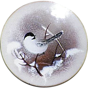 Vintage Norman Brumm Enamel On Copper Plate Bird Plate