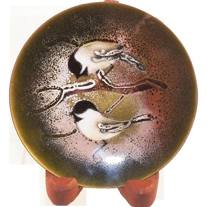 Vintage Norman Brumm Enamel On Copper Plate Two Birds