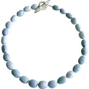 Blue Opal Mother of Pearl Inlay Choker Necklace - Alicia Choker Necklace