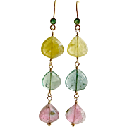 18K Gold Emerald Pastel Tourmaline Cascading Hearts Earrings - Allison Earrings