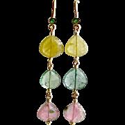 18K Gold Emerald Pastel Tourmaline Cascading Hearts Earrings - Allison Earrings