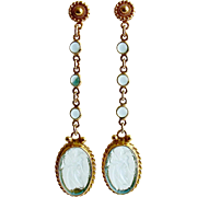 Aqua Quartz Venetian Glass Intaglio Cameo Dangle Earrings - Atrani Earrings