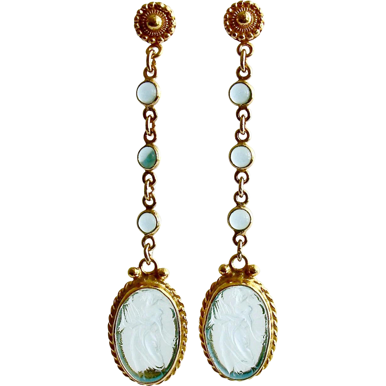Aqua Quartz Venetian Glass Intaglio Cameo Dangle Earrings - Atrani Earrings
