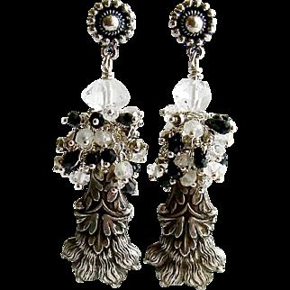 Heirloom Sterling Lion's Paw Amulet Cluster Earrings - Airella Earrings