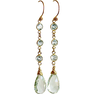 Blue Topaz Prasiolite Duster Earrings - Audrey Earrings