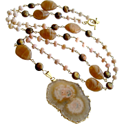 Peruvian Pink Opal Pearls Vintage Agate Blush Pink Brown Stalactite Slice Pendant Layering Necklace - Angela III Necklace