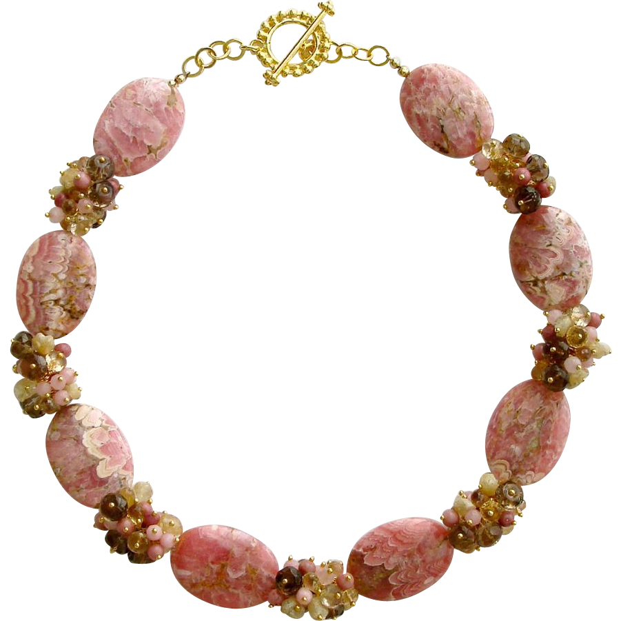 Rhodochrosite Slices Necklace - Champagne Citrine, Rhodonite, Smokey Quartz, Raw Herkimer Diamond - Angela II Necklace