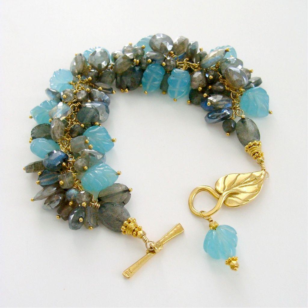 Labradorite Aqua Chalcedony Leaf Bracelet - Aqua Leaf Me Alone Bracelet