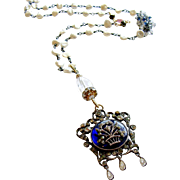 Freshwater Keishi Cultured Pearls Kyanite Rock Crystal Heirloom Enamel Silver Paste Pendant Necklace - Ayla Necklace