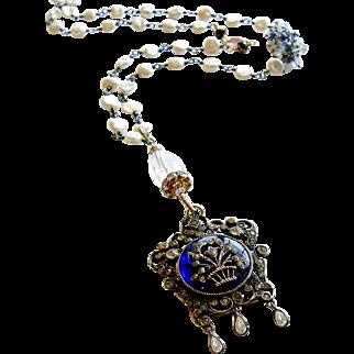 Freshwater Keishi Cultured Pearls Kyanite Rock Crystal Heirloom Enamel Silver Paste Pendant Necklace - Ayla Necklace