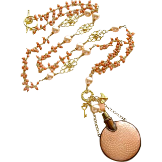 Guilloche Chatelaine Scent Bottle Coral Cluster Necklace - Aline Necklace