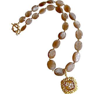 Harlequin Faceted Brown Moonstone With Removable Carved Sardonyx Cameo Pendant - Abigail Necklace