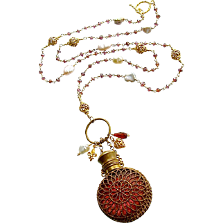 Mystic Garnet Keshi Cultured Pearls Cranberry Glass Chatelaine Scent Bottle Necklace - Alora Necklace