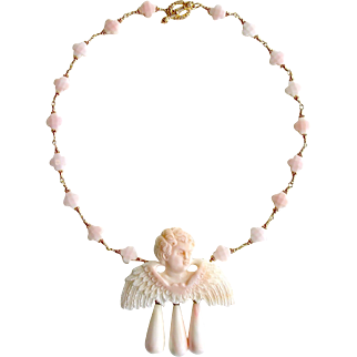 Pink Shell Cherub Angel Cameo Necklace - Amorette Necklace