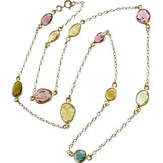 Tourmaline Slices Stations Necklace - Annica Necklace